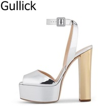 Hot Sale Women Mixed Color Silver Gold Peep Toe Sandals Summer Bling Bling Ankle Buckle Strap High Square Heel Shoes Free Ship недорго, оригинальная цена