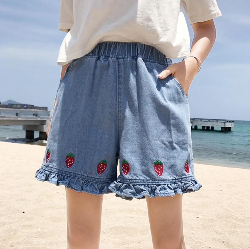 Summer cute strawberry embroidered elastic waist jeans shorts female