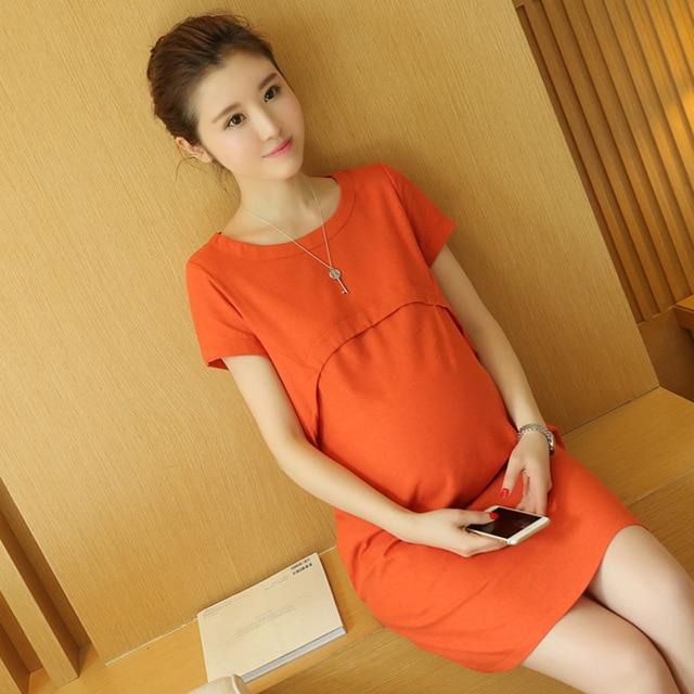 The New Summer Linen Loose Maternity Dress Lactation Dress Solid Color Short Sleeve Lactation