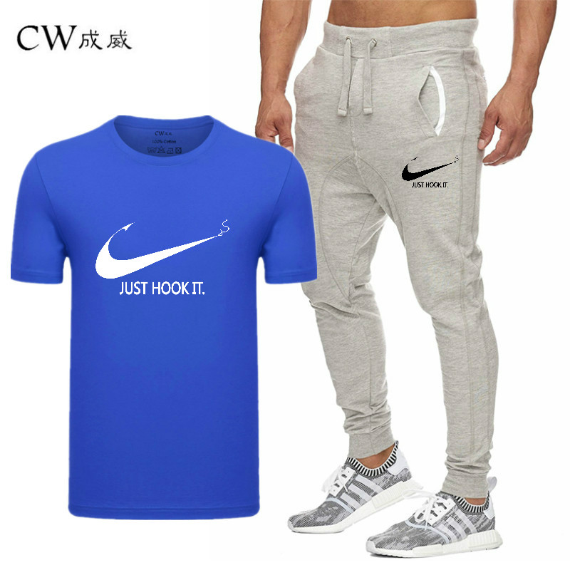 HTB1ORiNVyLaK1RjSZFxq6ymPFXaq 2019 Quality Men T Shirt Sets+pants men Brand clothing Two piece suit tracksuit Fashion Casual Tshirts Gyms Workout Fitness Sets