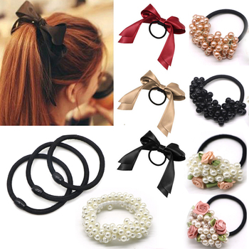 1pcs2018 Women Tiara Satin Ribbon Bow Hair Band Rope Scrunchie Ponytail  Holder Gum For Hair Accessories Hairstyle Girl Headbands 78b4abfa81b6