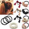 2019 Women Tiara Satin Ribbon Bow Hair Band Rope Scrunchie Ponytail Holder Gum for Hair Accessories Hairstyle Girl Headbands