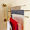 Golden Bathroom Kitchen Rotating Towel Holder 5 Movable Rod Towel Bar Belt Towel Rack Bathroom Accessories OG-17-5K