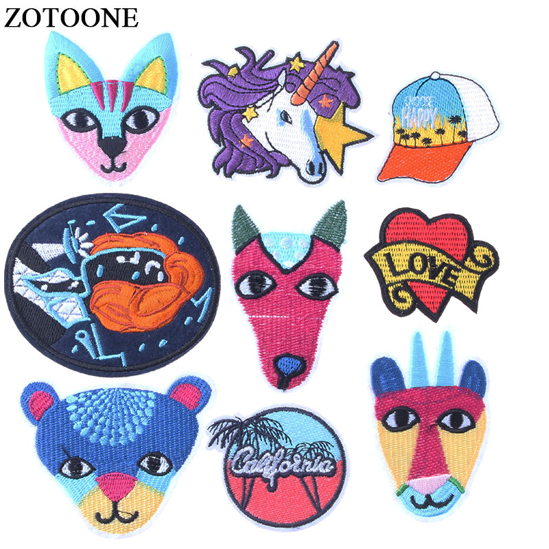 ZOTOONE Animal Iron on Patches for Clothing  Embroidered Applique Sewing DIY Cute Badge Garment Apparel Accessories E