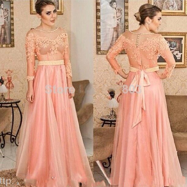 Peach A Line Scoop Neck Three Quarter Sleeve Appliques Top Sash ...