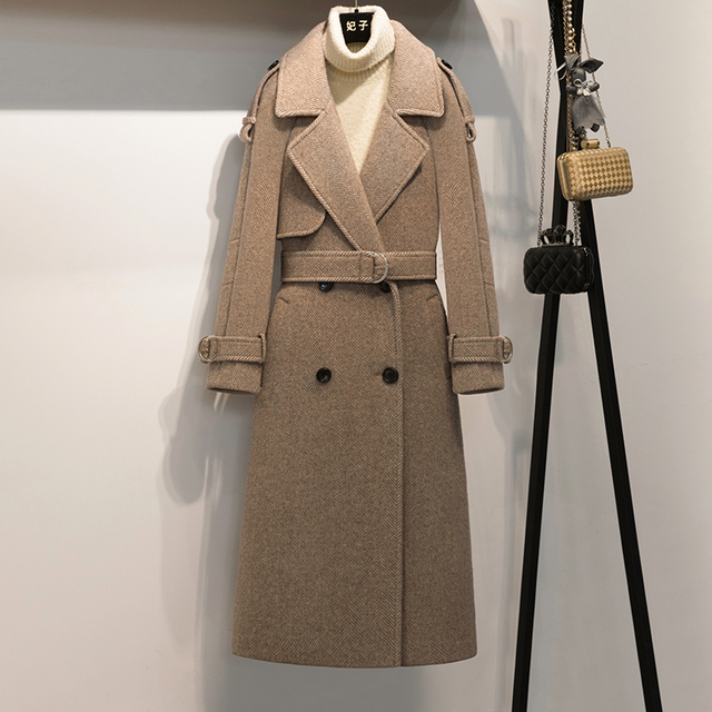 33477d7d6e 2018 New Fashion Long Wool Overcoat Winter V-neck Double Breasted Regular  Slim Office Lady China (mainland) Khaki Ladies Coats
