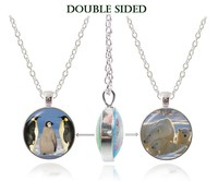Polar Bear Jewelry Three Penguins Photo Pendant Necklace Animal Statement Necklace Double Faced Glass Pendant Silver