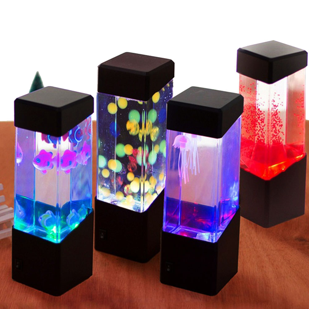 LED Desktop RGB Changing Fish Aquarium Tank Lights Relaxing Bedside Table Motion Night Jellyfish Lamp Holiday Kids Gift