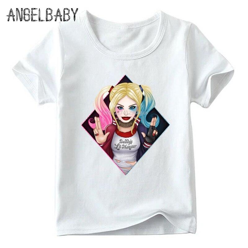 Kinder Suicide Squad Harley Quinn Print T shirt Jungen und Mädchen Sommer Weiß Tops Kinder Casual Kleidung, ooo5079
