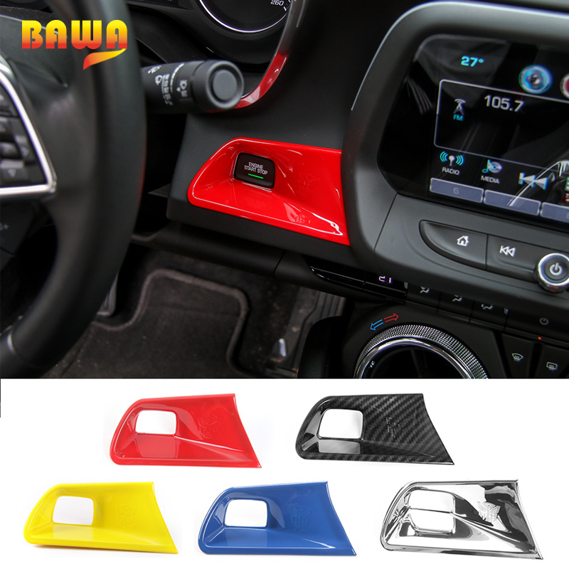HANGUP ABS Car Engine Key Start Stop Button Decoration Cover Trim Stickers Accessories for Chevrolet Camaro 2017 Up Car Styling