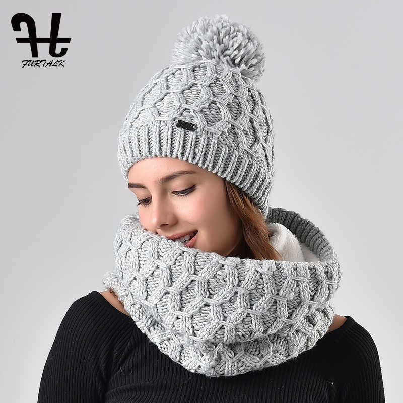 Furtalk winter women knitted hat and scarf set raccoon fur pom pom beanie  hat scarves for 07d216f5838b