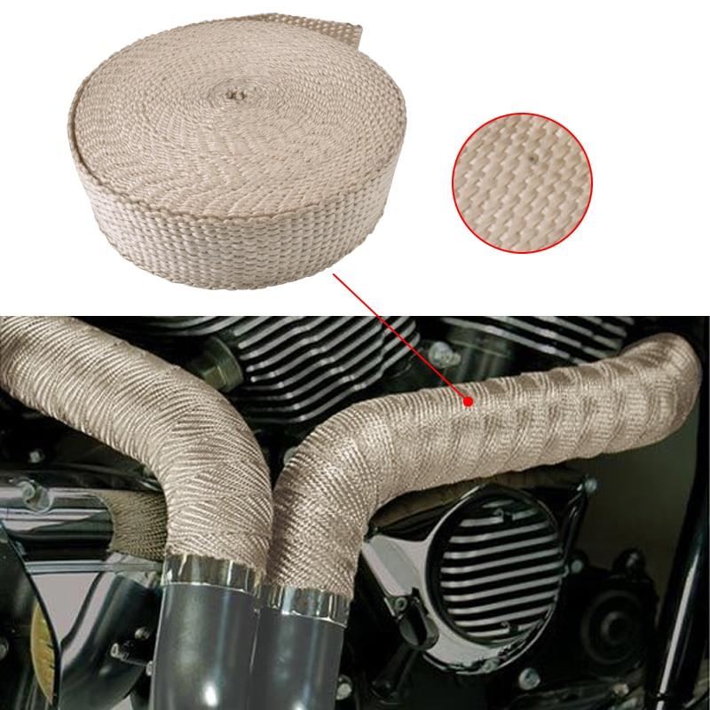 "2 Roll x 2/"" 50FT Tan Beige Exhaust Wrap Header Manifold Fiberglass Heat Tape"