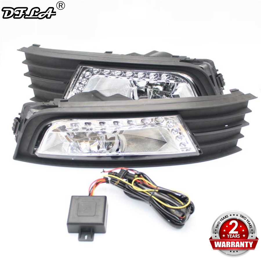 For Skoda Octavia A7 MK3 2014 2015 2016 2017 Car-Styling LED DRL Daytime Running Light With Fog Light Gille + Wire Harness 2pcs led light for skoda octavia a7 sedan octavia a7 combi 2013 2014 2015 2016 2017 car styling front led fog light fog lamp