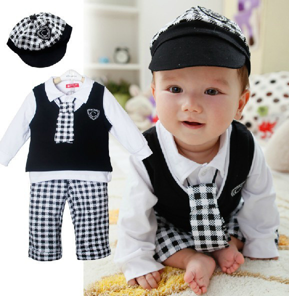 Free shipping baby clothing set spring/fall clothing set 100% cotton boy leisure suit long sleeve T-shirt+pants+vest+cap+tie