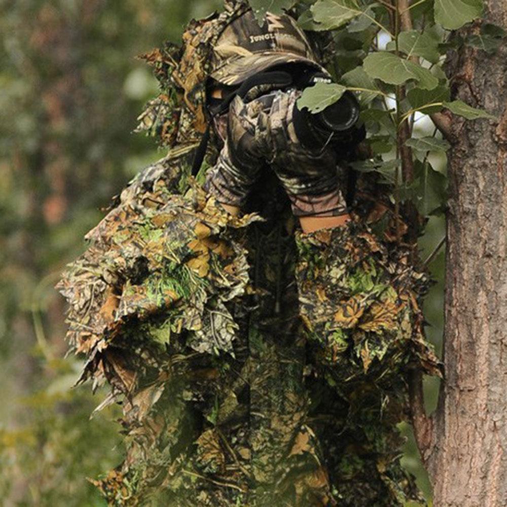 caca ghillie terno 3d camo bionico folha camuflagem selva floresta birdwatching poncho manteau roupas de caca