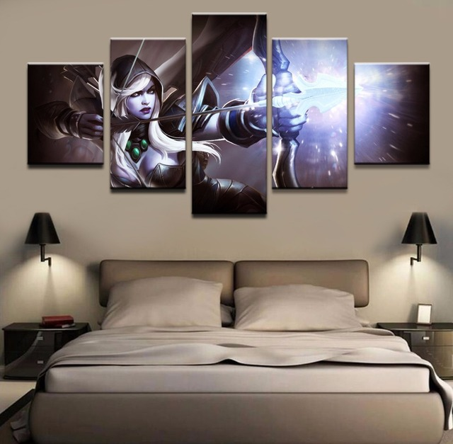 Modern Wall Art Painting 5 Panel Archer DOTA 2 Drow Ranger Game Poster Home Decor For Living Room Canvas Printed Picture Artwork 1