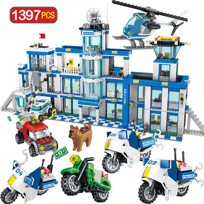 1397 pièces blocs de construction de la Station de Police de la ville blocs techniques Swat équipe militaire camion camion de Police briques jouets pour enfants garçons