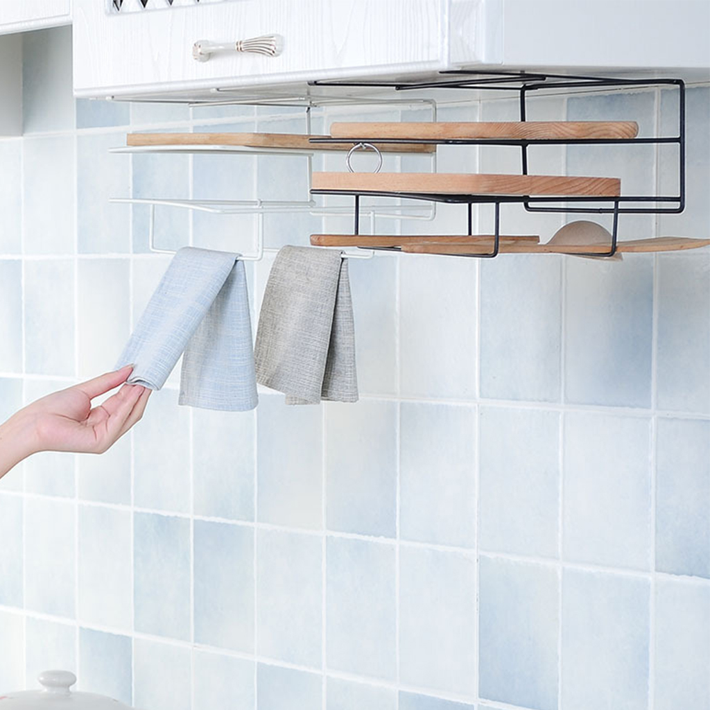 Cutting Board Holder Towel Rack Kitchen Storage Rack Kitchen Organizer Wash Cloth Hook Shelf Bathroom Cabinet Cupboard Hanger