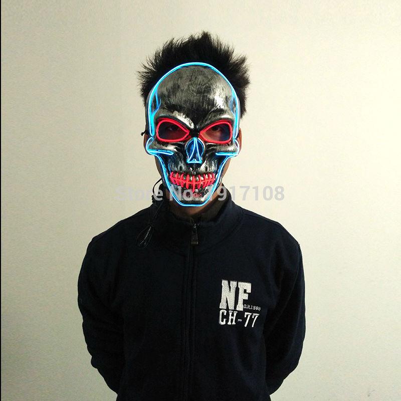 Uus Halloweeni peo maskmaskera Skull head Mask Mood LED-i vilkuv - Pühad ja peod - Foto 4