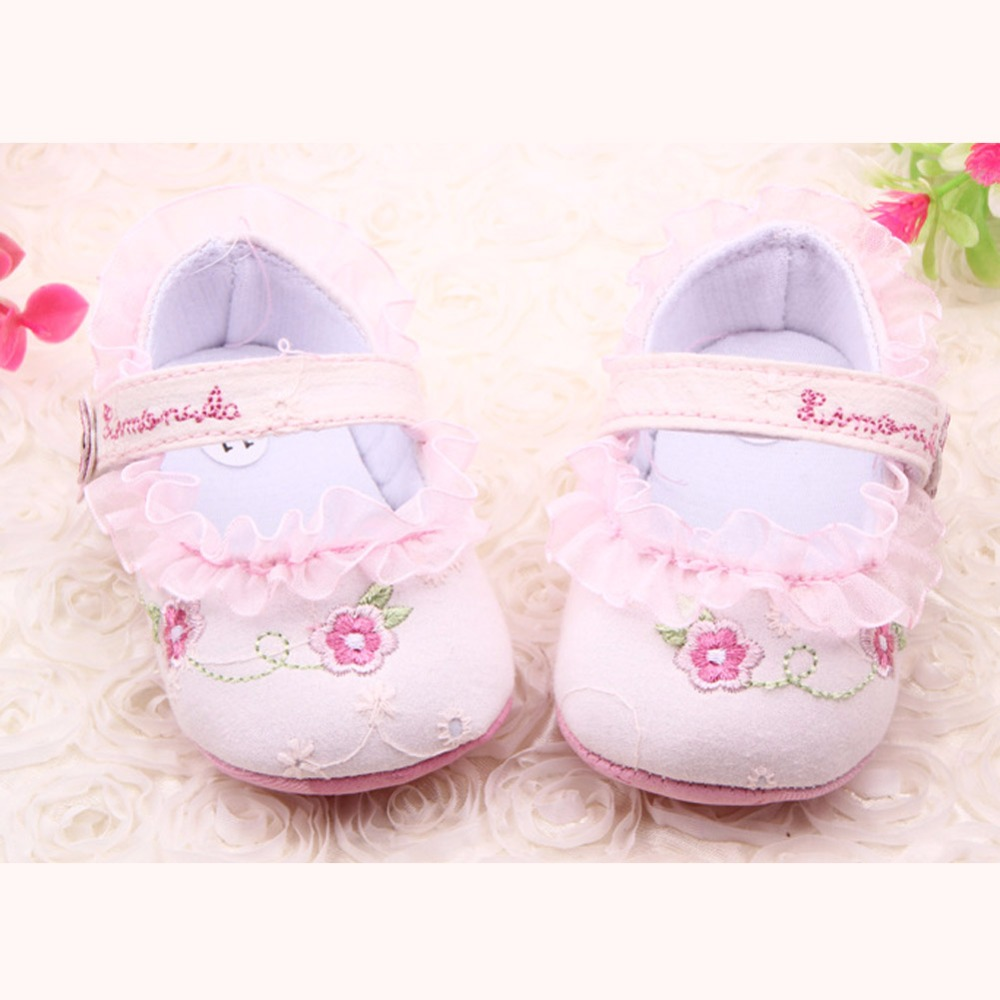 Infant Toddler Baby Girl First Walkers Floral Lace Prewalker Shoes Soft Sole Crib Shoes For Girls