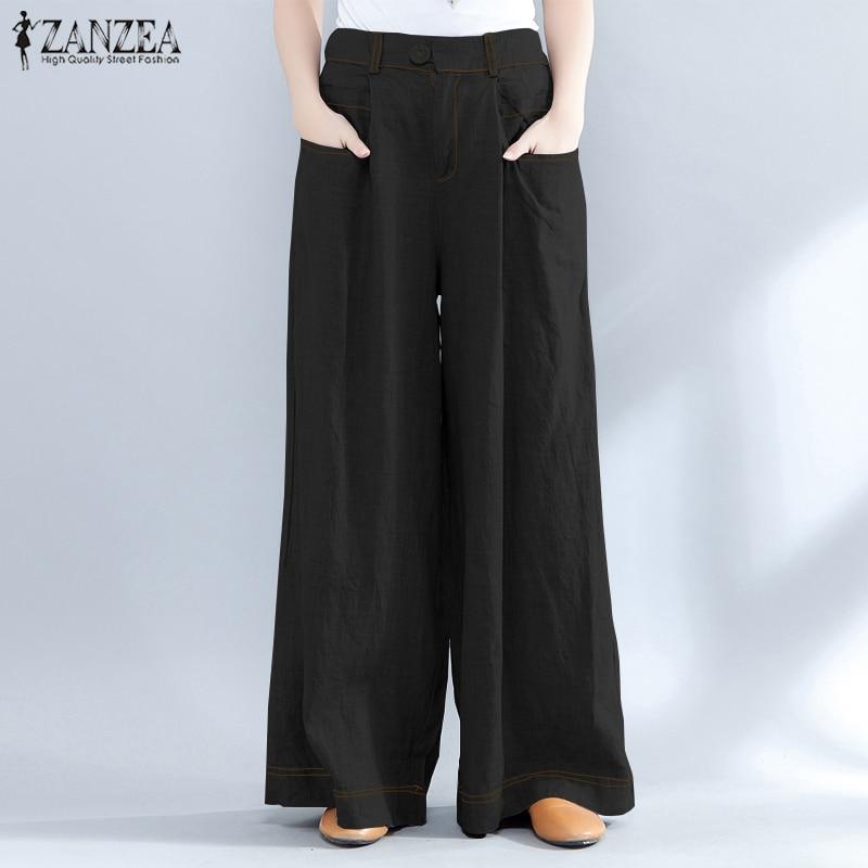 2018 ZANZEA Summer Baggy Long Trousers Women Casual High Waist   Wide     Leg     Pants   VintageDenim Style Loose OL Work Pantalon Plus