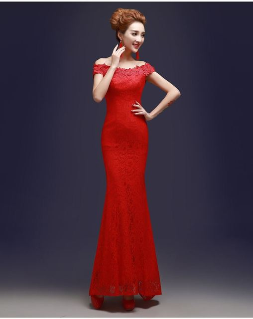 Good Quality Bandage Red Lace Bridesmaid Dress Bride Sister Marriage Performance Stage Photography Dresses Sw0019