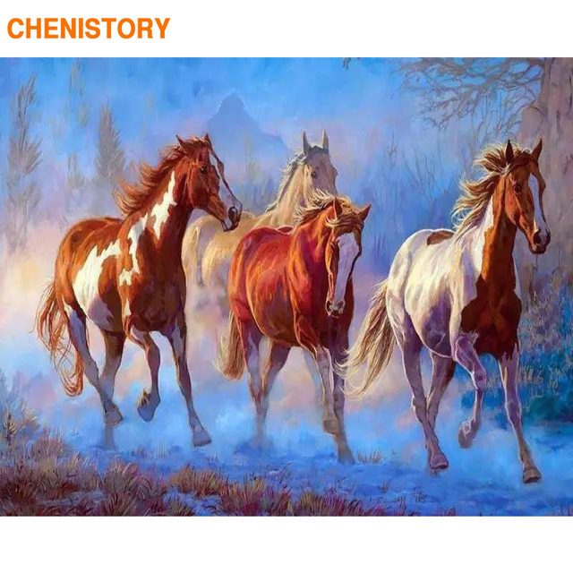 CHENISTORY Horse Animals DIY Painting By Numbers Kit Drawing Painting On Canvas Handpainted Oil Painitng Home Decoration 40x50cm