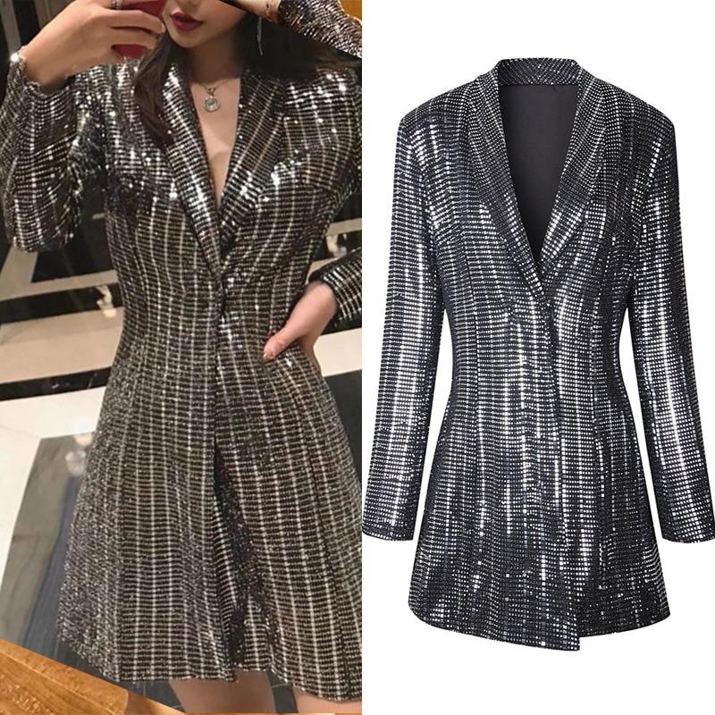 High Quality Women Plaid Blazer Autumn And Winter New Slim Retro Hot Stamping Jacket Female Long Section Shiny Jacket