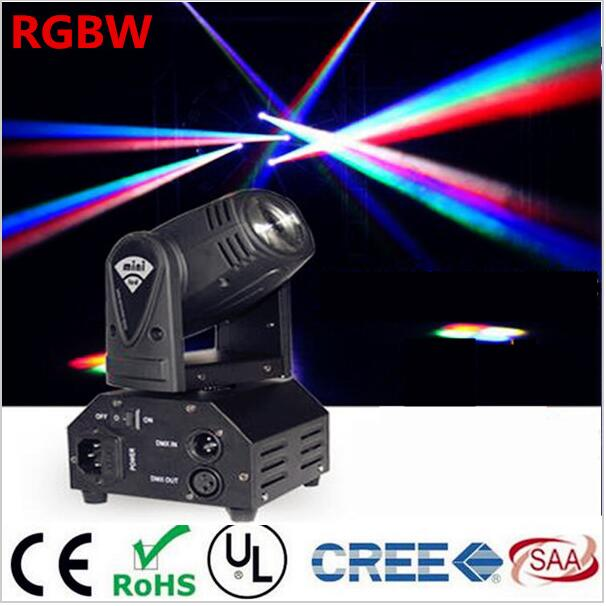 12W Mini moving head DMX512 light beam Lights LED spot Lighting DJ Show Disco Laser Light RGBW 4in1 led 4pcs/lot