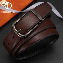 цена Men Genuine Leather Belt Reversible Buckle Brown and Black Belt Business Dress Belts for Men онлайн в 2017 году