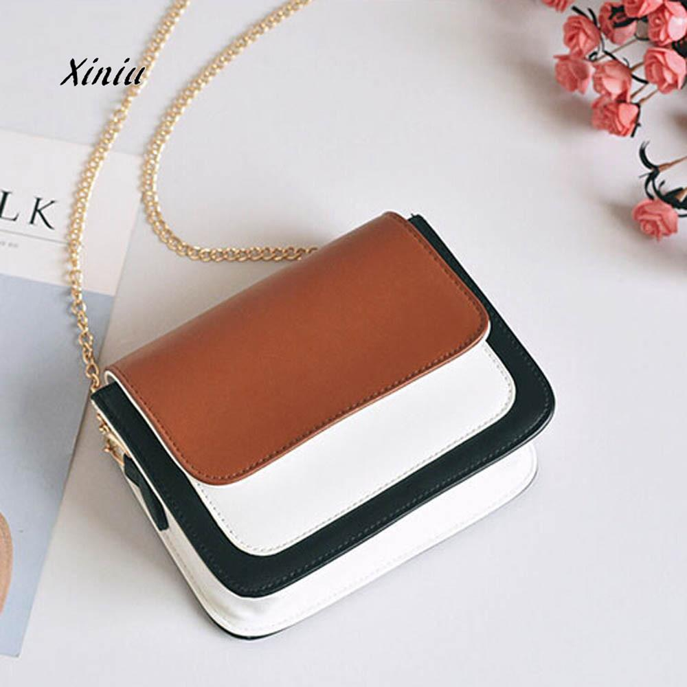 Fashion Women Bag Girls Leather Chain Handbag Crossbody Shoulder Bag Female Casual Hit Color Mini Small Messenger Phone Bag luxury flower fashion design pu leather women s chain purse shoulder bag handbag female crossbody mini messenger bag 3 colors