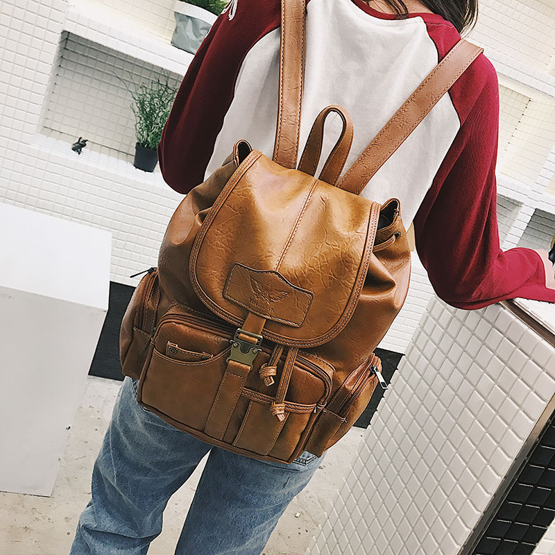 KMFFLY Women Backpack Drawstring School-Bags Teenage PU for Girls Large High-Quality