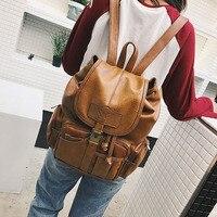 KMFFLY Brand Vintage Women Backpack for Teenage Girls School Bags Large Drawstring Backpacks High Quality PU Leather Brown Bag
