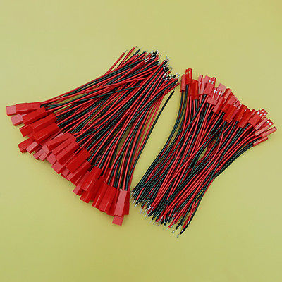 50 Sets 26AWG Wire 2 Pin 10cm JST Plug Socket Connector Cable стоимость