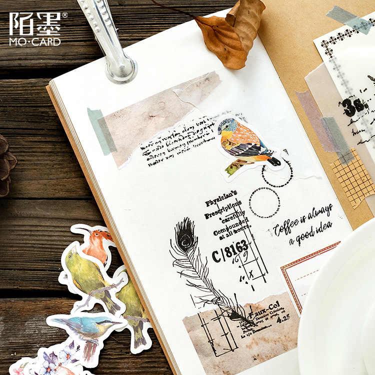 AAGU 45 unidades/pacote Pacote da Caixa Bonito Animal Ave Padrão Papel Adesivo Decorativo Scrapbooking Bala Revista Papelaria Adesivo