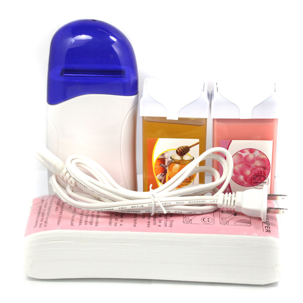 Depilatory Cable Waxing Heater Kit With 100pc Wax Paper + 100g Roll On Wax Honey+Rose Hair Removal Tool
