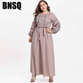 BNSQ Plus Size Embroidered Dresses Comfortable Fashion  Women Khaki Lace Puff Sleeves Long Sleeve Round Neck Bow Muslim Casual