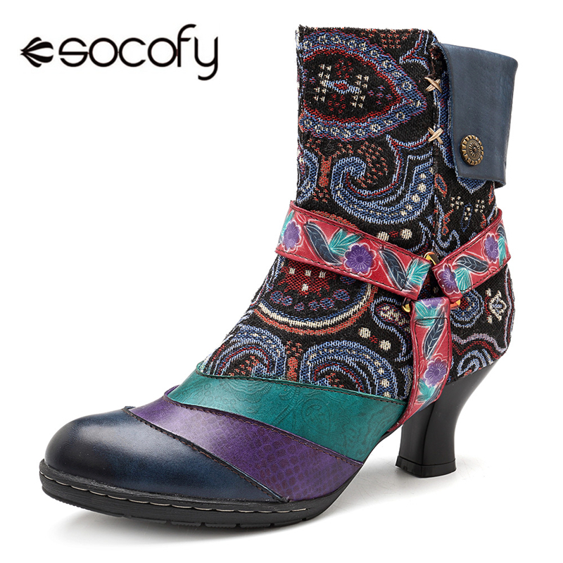 Socofy Printed Floral Vintage Winter Boots Women Shoes Woman Genuine Leather Splicing Zipper Round Toe Ankle Boots For Women New lining splicing floral print casual wide hem organza midi skirt for women
