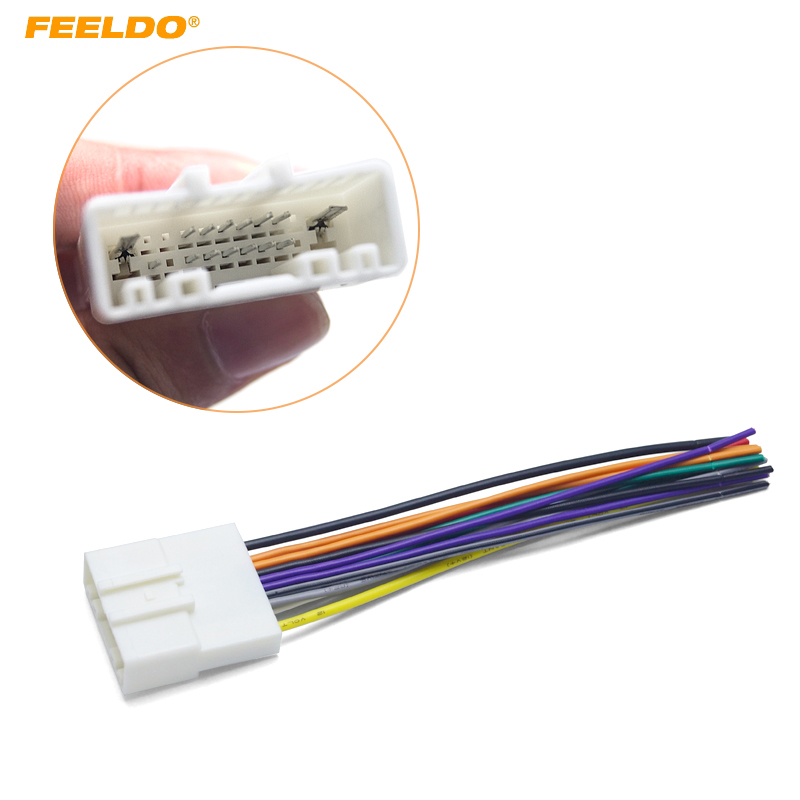 Feeldo 15pin Car Audio Stereo Wiring Harness Adapter For