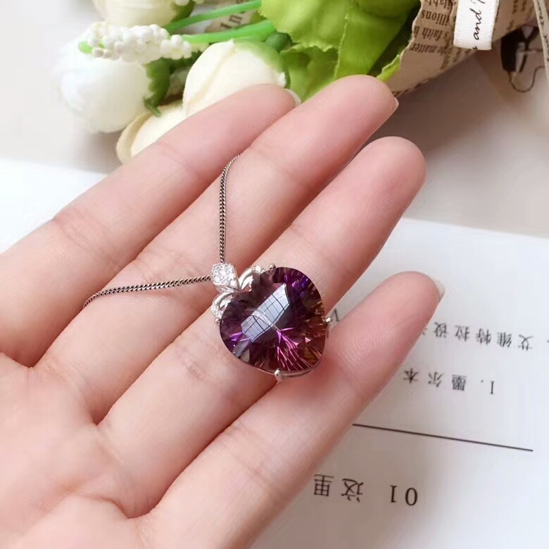 [MeiBaPJ]Real Natural Ametrine Pendant Necklace with Certificate 925 Pure Silver Fine Charm Jewelry for Women fashion pure 925 sterling silver green chinese 100% natural jadeite pendant with certificate