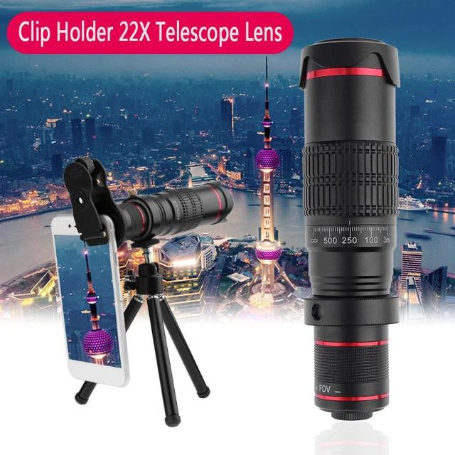 Newest Tripod Double Regulation HD Scale Distance FOV 22X Telephoto Zoom Camera Phone Lens For iPhone X/8/7/7 Plus/6s/6/5 SE
