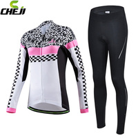 CHEJI Women S Lycra Breathable Winter Thermal Cycling Clothing Sets Long Sleeve Cycling Jersey Set Cheap
