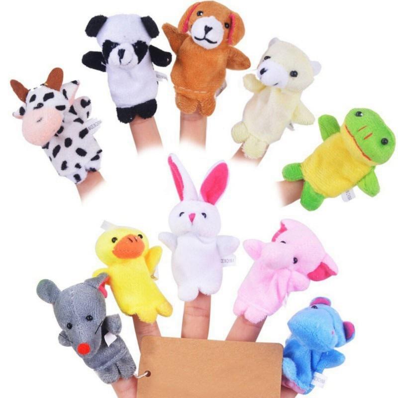 10 Pcs Set Velvet Cute Animal Finger Puppets Panda Rabbit Elephant Party Favors Gift For Kids Playtime