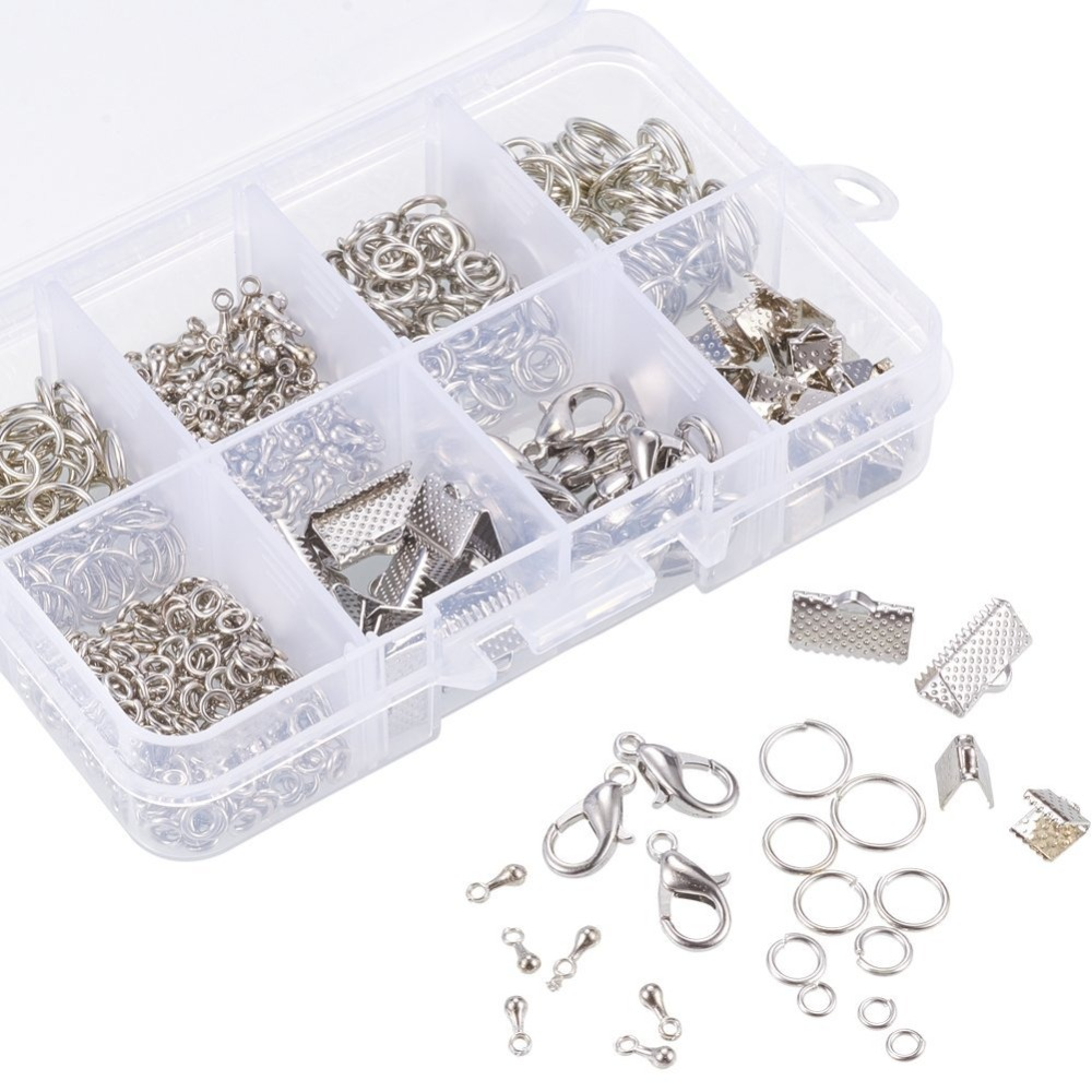 About 610Pcs/Box Fold Over Crimp Ends Ribbon Ends Twist Chains Brass Lobster Claw Clasps Drop Ends Jewelry Making Findings