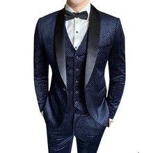 New Shawl Collar Male Velvet Suit Navy Blue Wedding Suits For Men Slim Fit Suit Male Elegant Prom 3-piece set Jacket Pants Vest boys blue wedding suit slim fit suit boys prom suit blue page boy suit 3 piece