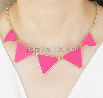 NEW Fashion punk Pink Green Blue Oil Triangle Multicolour  necklaces & pendants for women  X-081