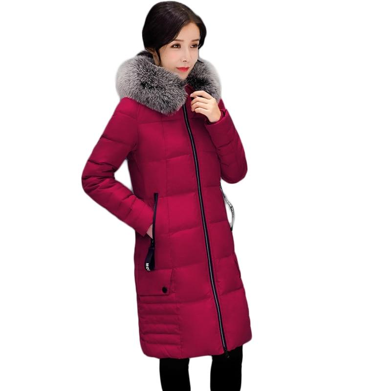 Winter Jacket Women 2017 Female Large Fur Hooded Parka Coats Women Cotton-Padded Long Slim Warm Jackets Plus size L-4XL CM1895 2017 winter coat women long cotton jacket parka fur hooded cotton padded thick warm coats women wadded jackets plus size lu378