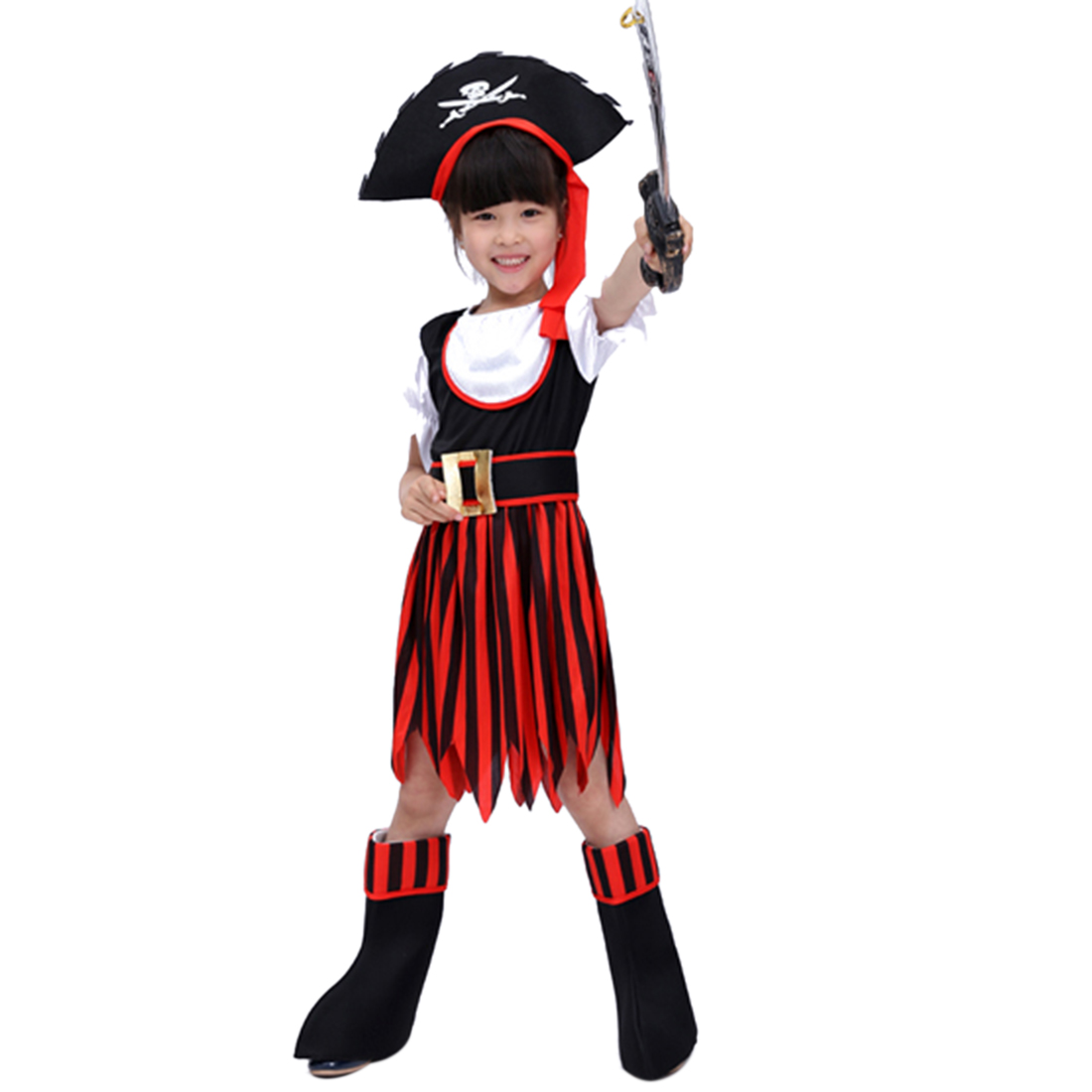 Halloween Pirate Cosplay Suit Children Pirate Girls Costume With Pirate Knife For 4-6 Years Old - M Size