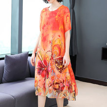 Flowing Silk Dress for Women High Quality Plus Size Print Floral Elegant Vintage Loose Party Dresses 2019 Summer Midi Robe Cloth
