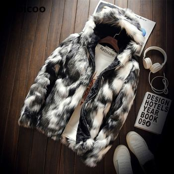 Winter Fashion Fur Coat Men's Clothing Thick Faux Fur Zipper Jacket Hooded Jacket  men's hoodies coats man warm clothes oversize brand baby infant girls fur winter warm coat 2018 cloak jacket thick warm clothes baby girl cute hooded long sleeve coats jacket